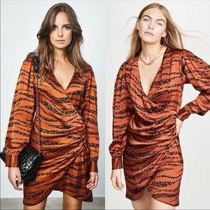 Anine Bing Penelope Silk Dress Zebra Mini Orange